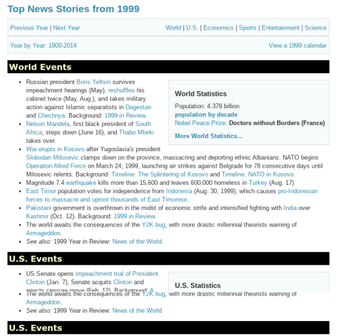 Headlines from 1999 - screenshot from Info Please