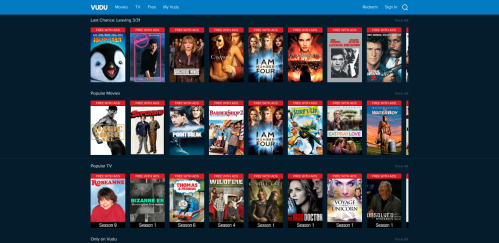 Partial movie list from Vudu